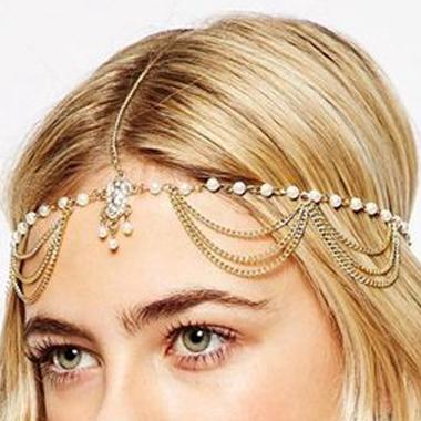 Metal Gold Beads Detail Hair Chain