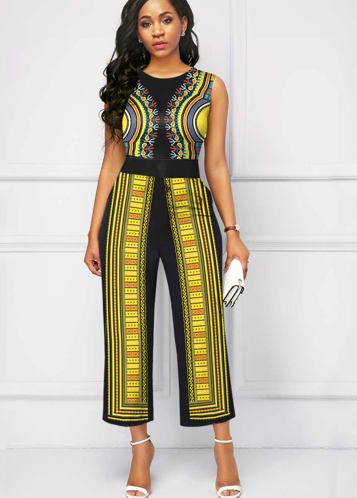 ROTITA Round Neck Tribal Print Sleeveless Jumpsuit