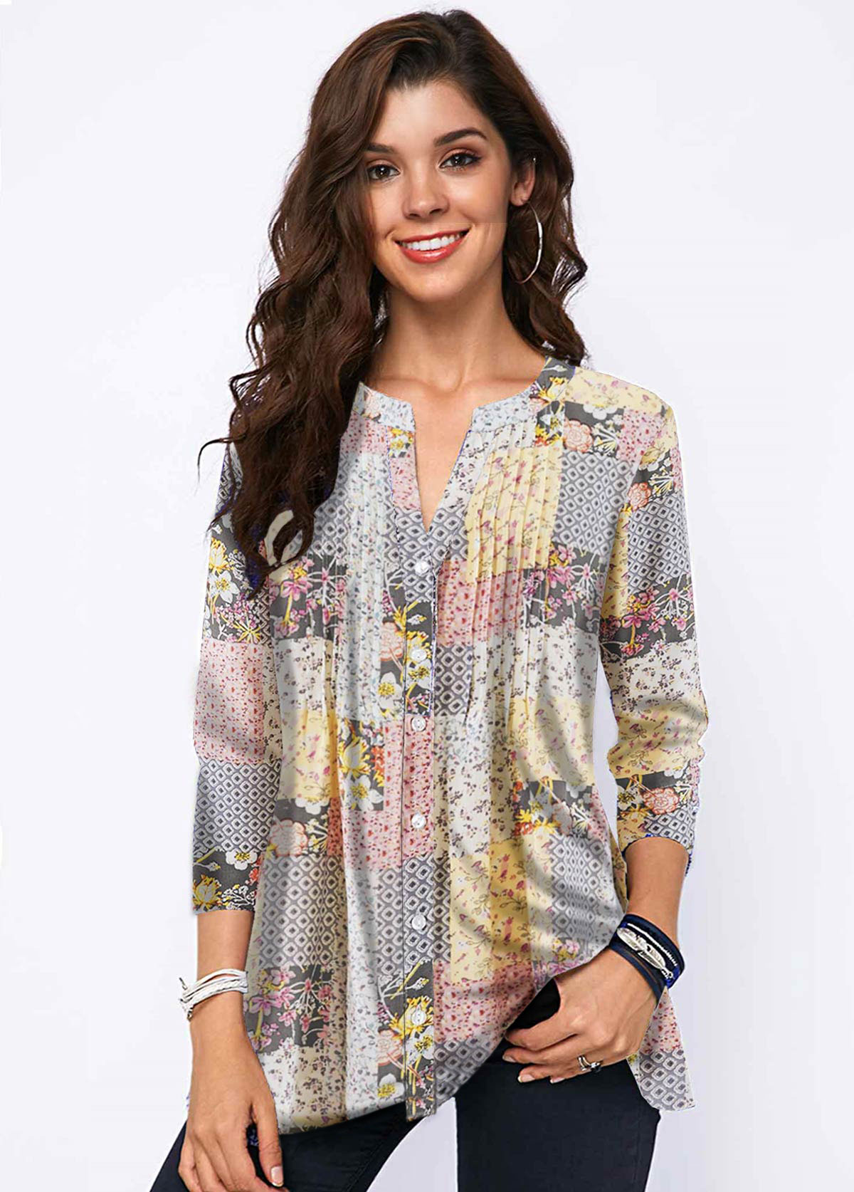 Split Neck Button Detail Printed Blouse