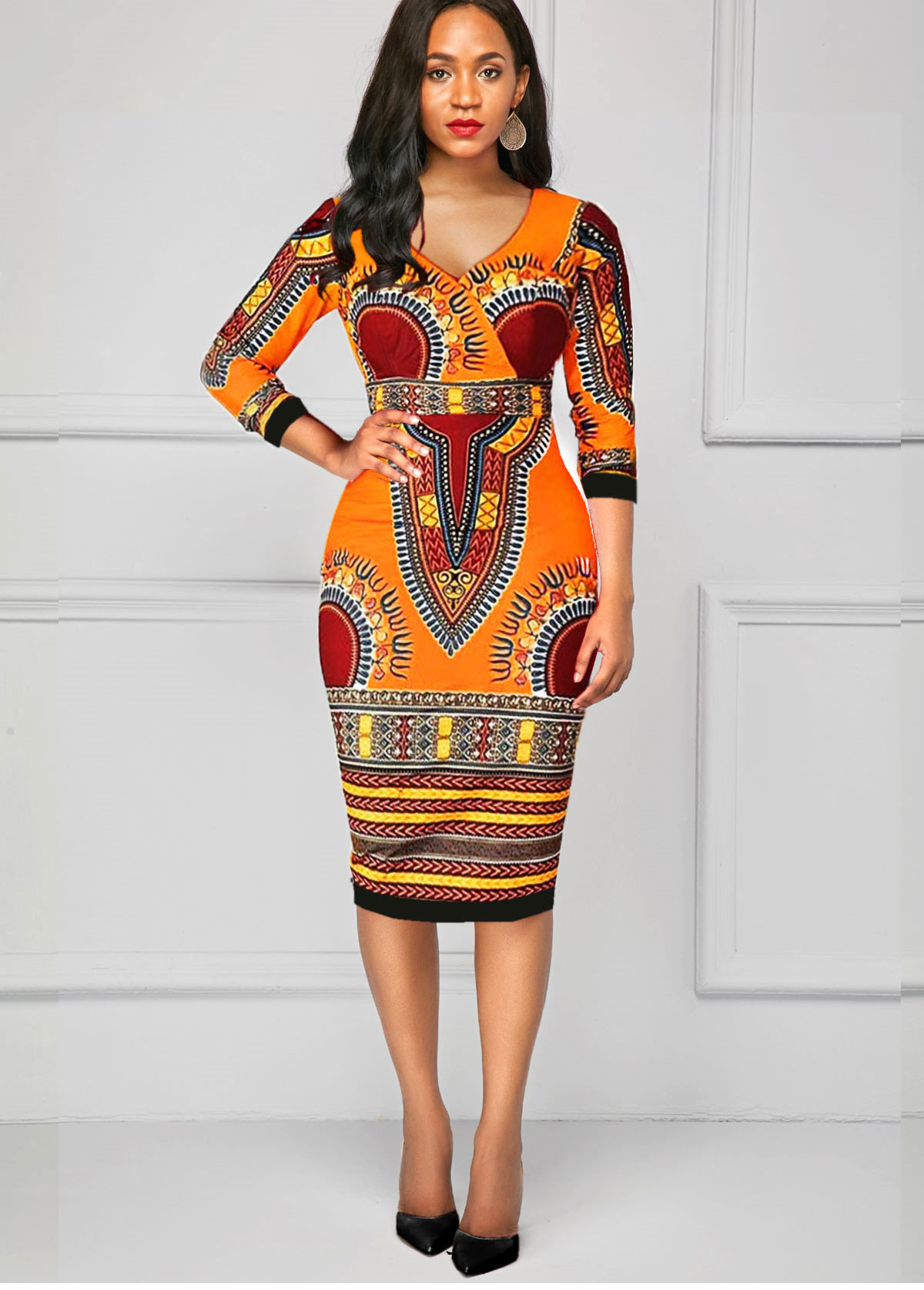 V Neck Dashiki Three Quarter Sleeve Dress