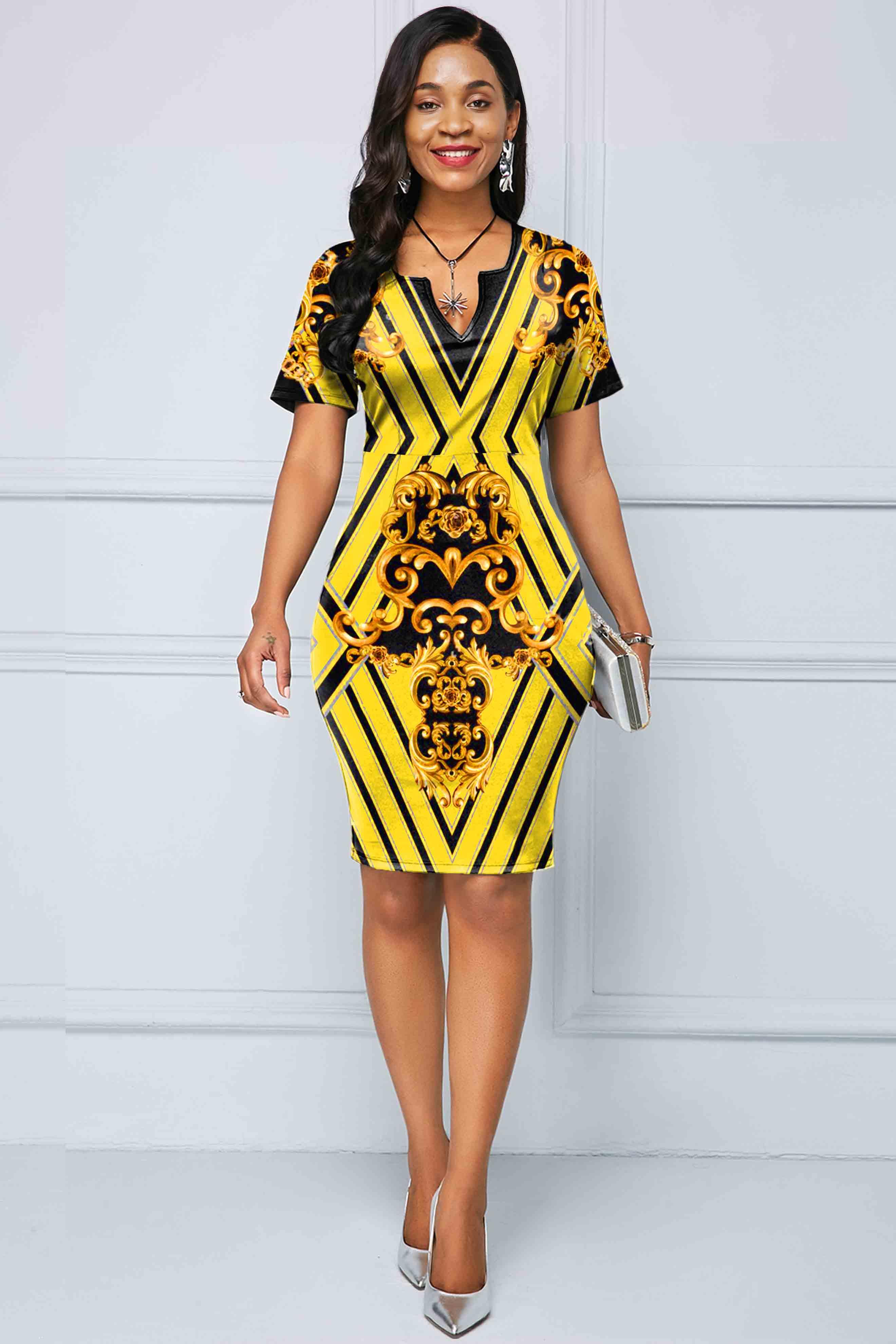 Tribal Print Yellow Short Sleeve Dress