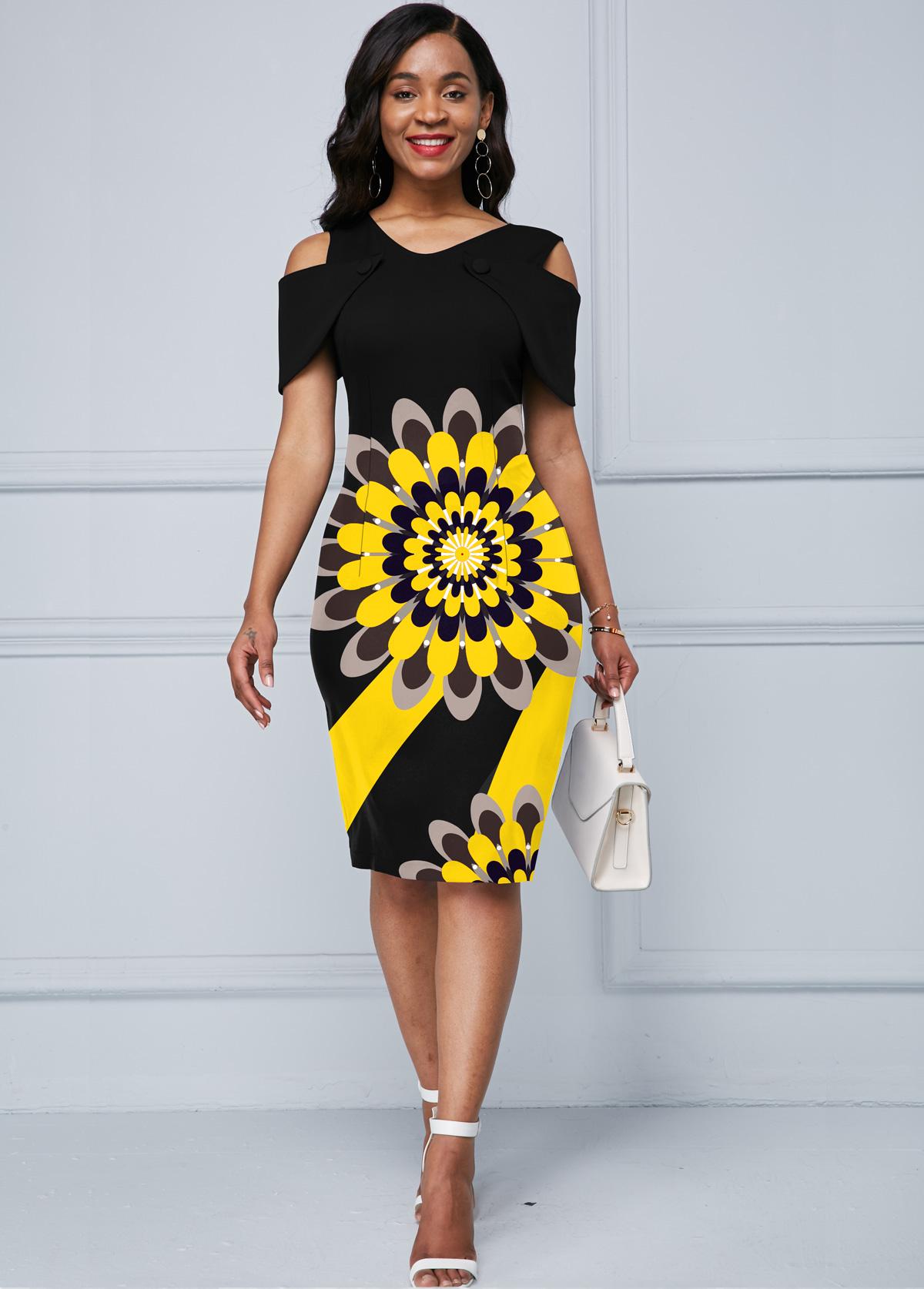Flower Print Black Cold Shoulder Dress