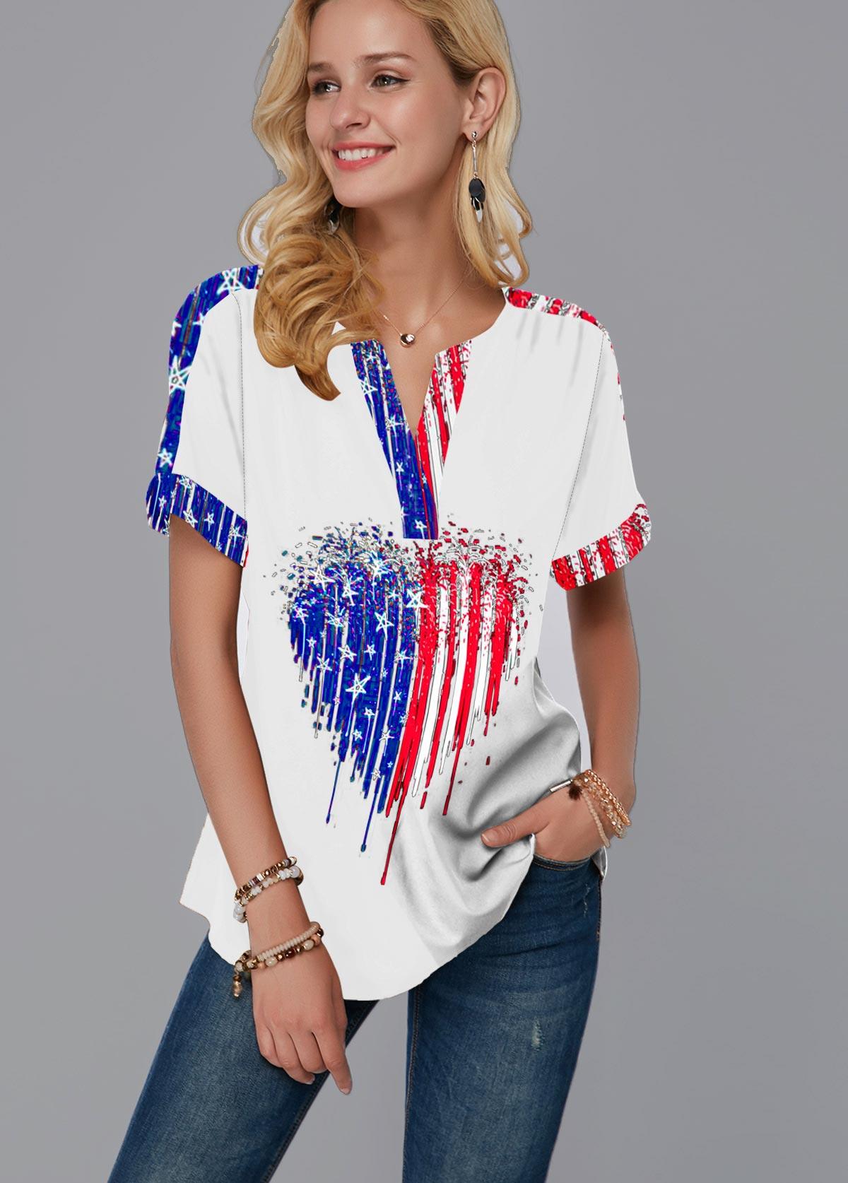 ROTITA Short Sleeve American Flag Print Split Neck White Blouse