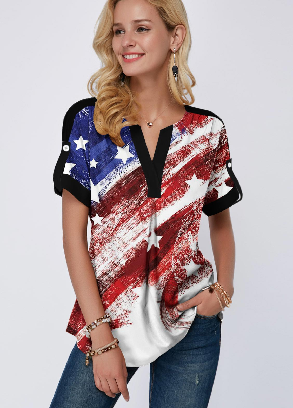 ROTITA Split Neck Short Sleeve American Flag Print Blouse