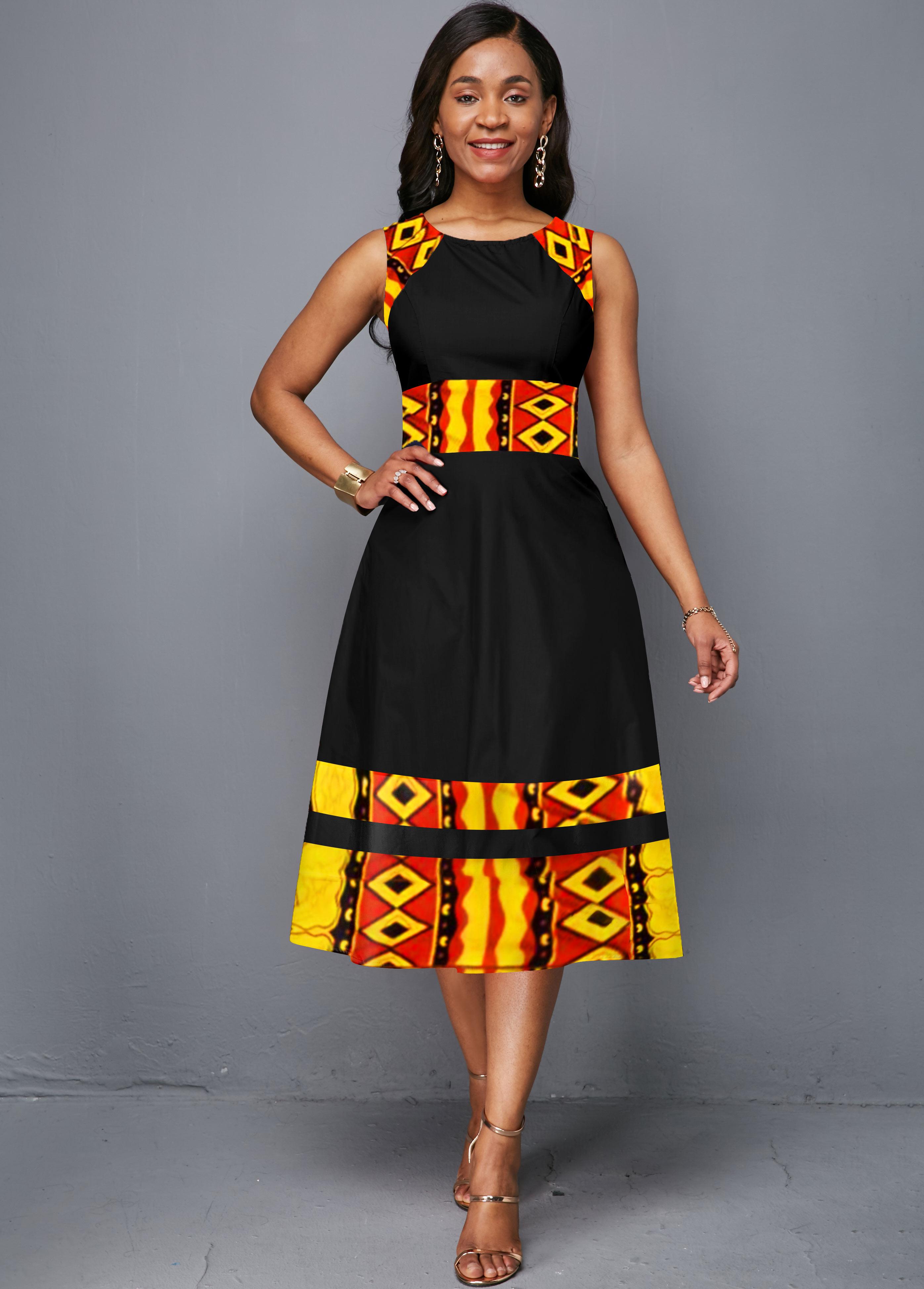 Tribal Print Round Neck Sleeveless Dress
