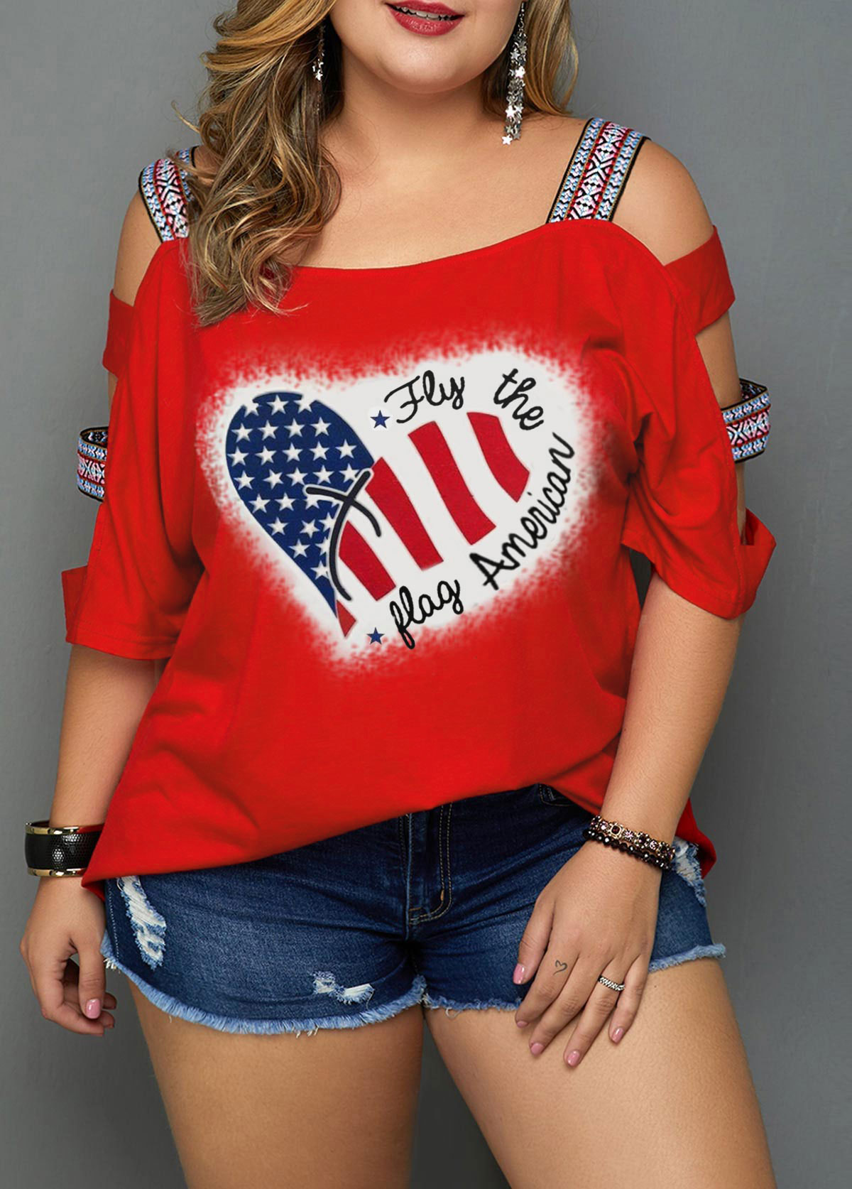 ROTITA American Flag Print Plus Size Red T Shirt