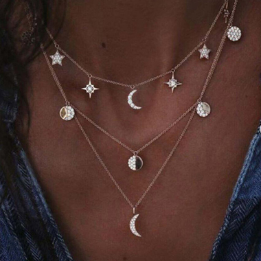 Star and Moon Decorated Silver Metal Necklace