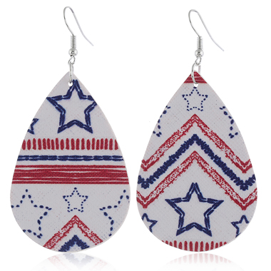 Color Block American Flag Print Earring Set