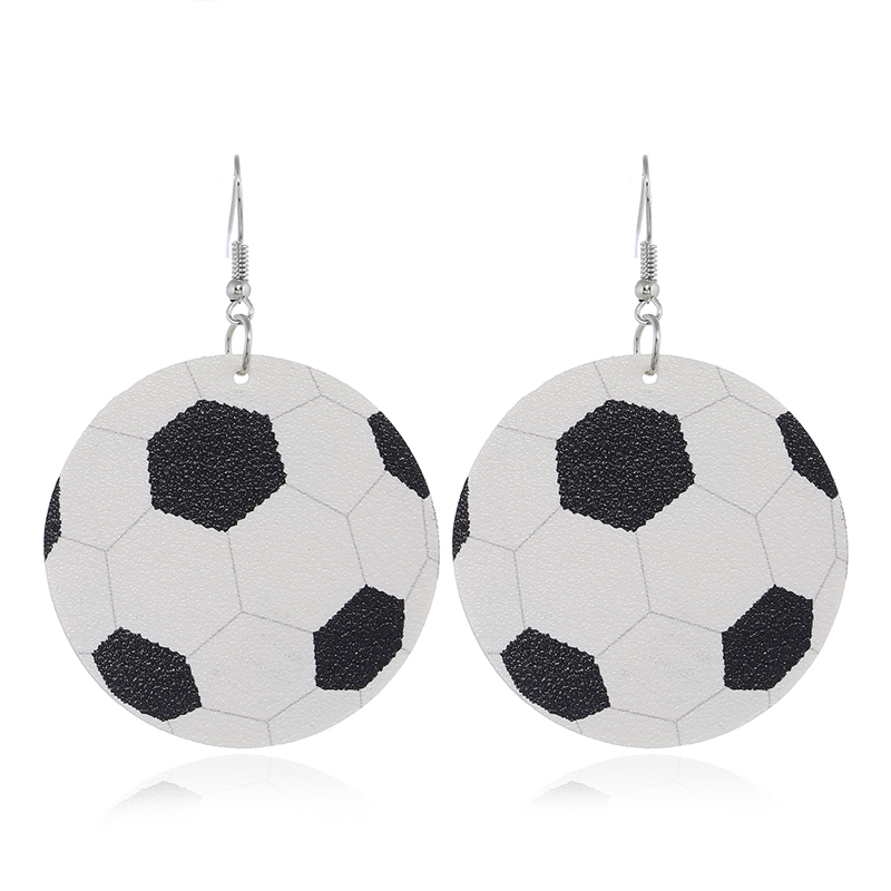 White Fun Sports Football Earring Set