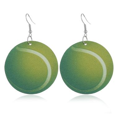 Mustard Green Tennis Ball Design Earrings