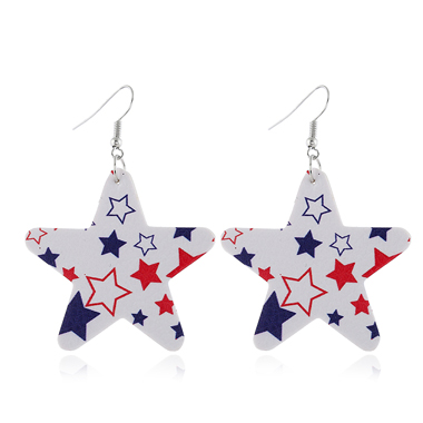 Color Block Starry Print Earring Set
