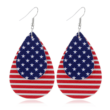 Layered Stripe Star Print Earrings for Women