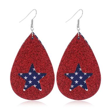 American Flag Print Star Shape Earrings for Women