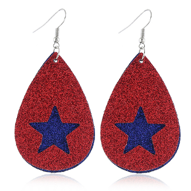 Star Shape American Flag Print Earrings for Women