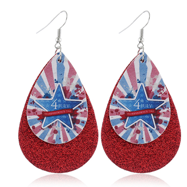 Starry American Flag Print Wine Red Earring Set