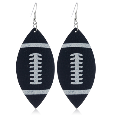 Rugby Print Flag Day Black Earring Set