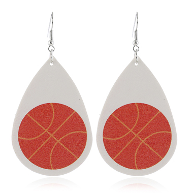 Basketball Print White Flag Day Earring Set