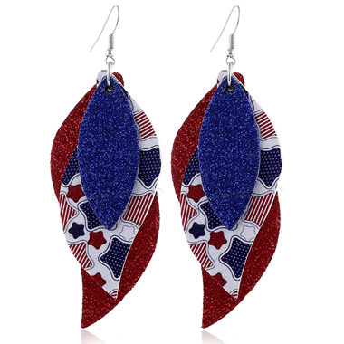 Layered Color Block Star Print American Flag PrintEarring Set