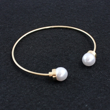Pearl Decorated White Metal Bracelet for Women