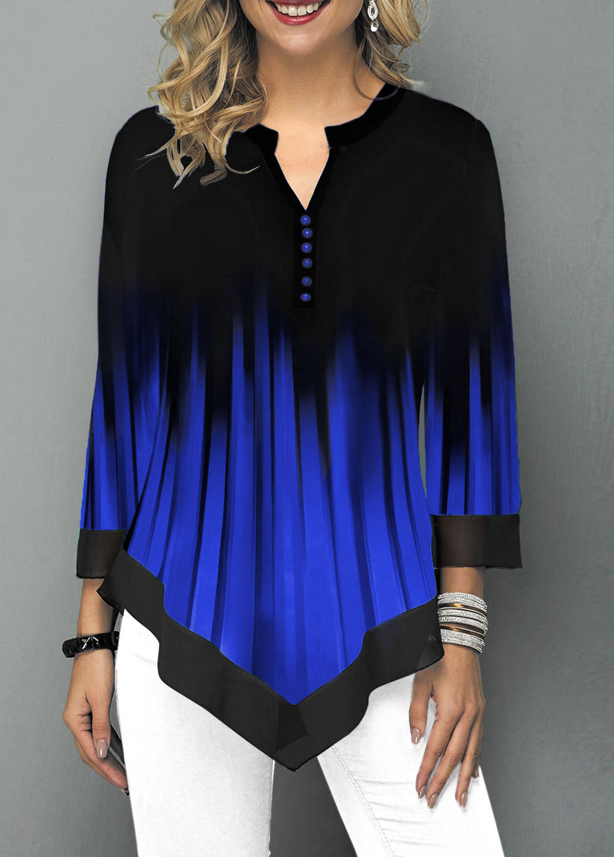 Split Neck Asymmetric Hem Button Detail Ombre Blouse