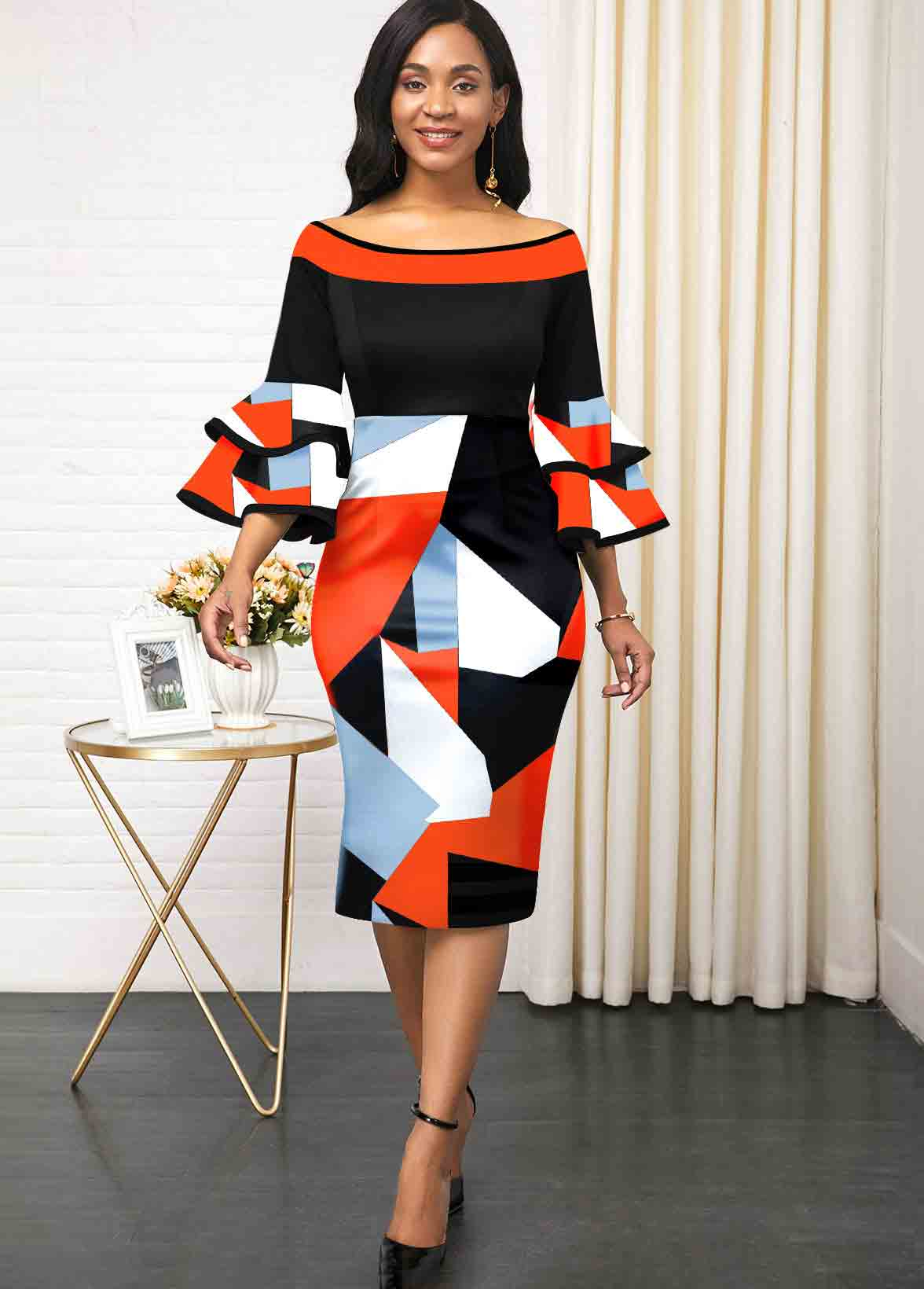 ROTITA Flare Sleeve Color Block Print Dress