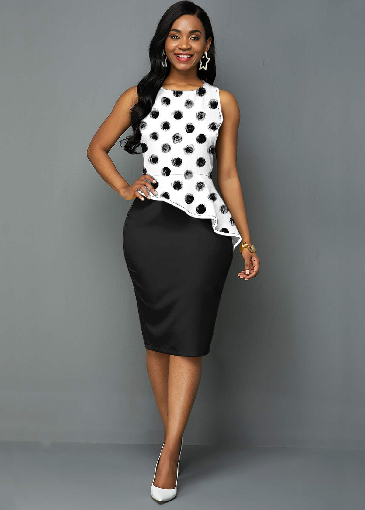 ROTITA Asymmetric Hem Polka Dot Print Sleeveless Dress