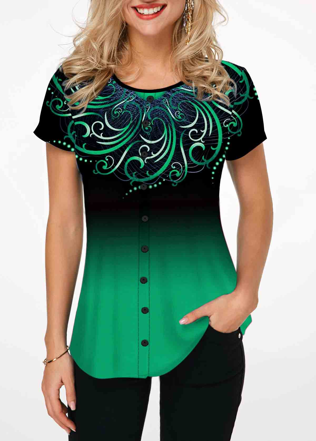 Round Neck Tribal Print Green T Shirt