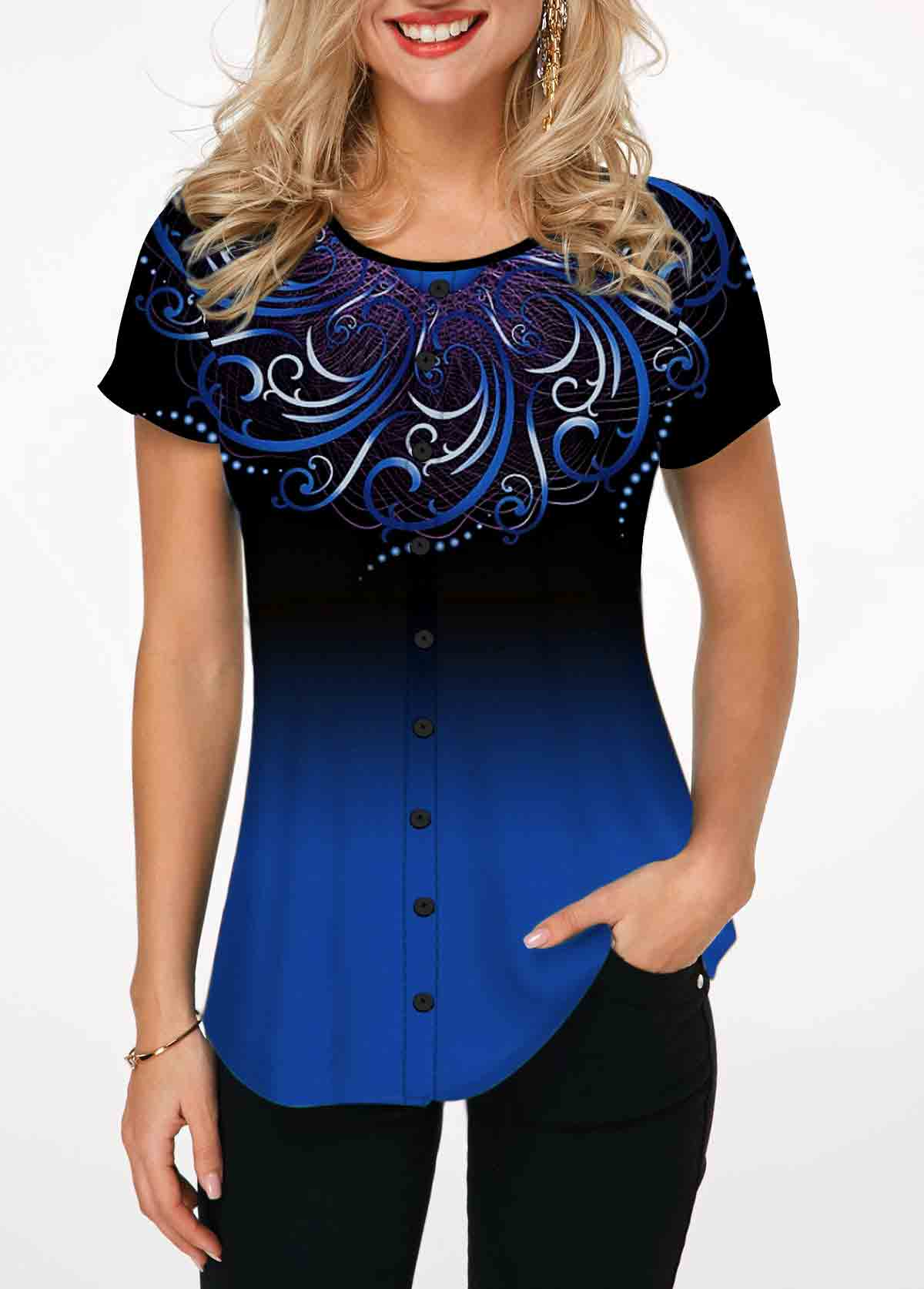 ROTITA Tribal Print Blue Gradient Short Sleeve T Shirt