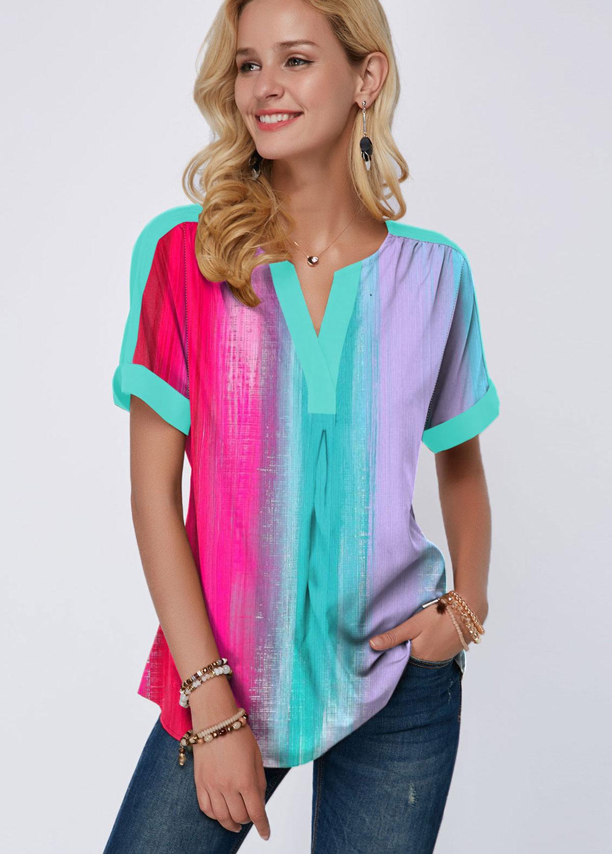 ROTITA Short Sleeve Split Neck Gradient Print T Shirt