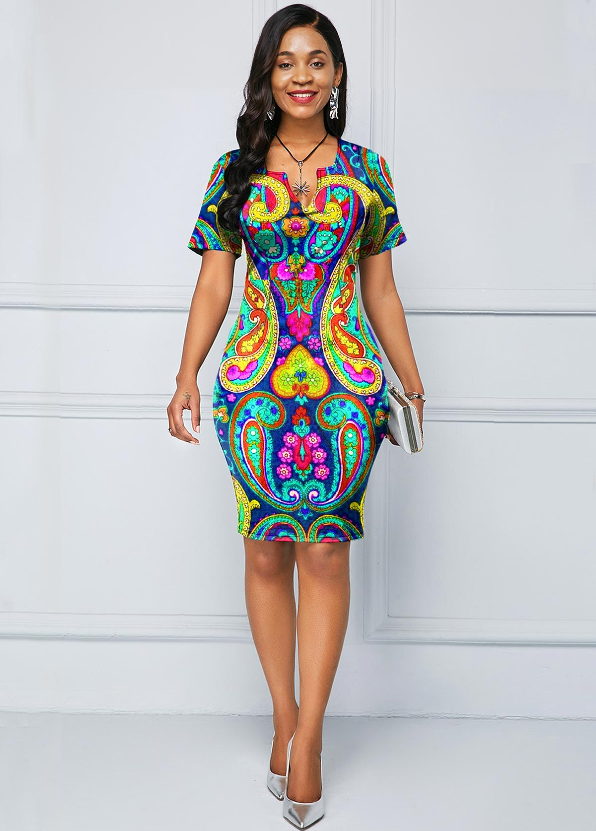 ROTITA Paisley Print Split Neck Short Sleeve Dress