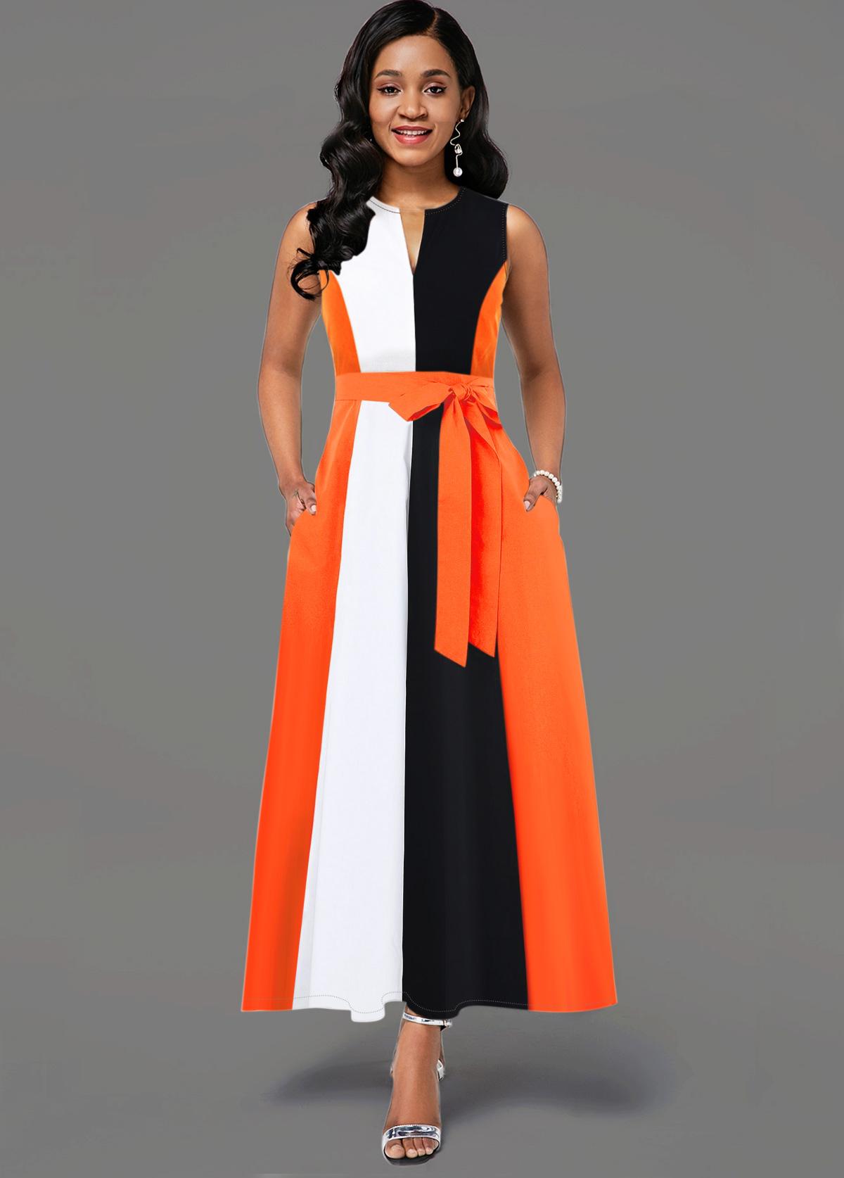 ROTITA Sleeveless Color Block Split Neck Dress
