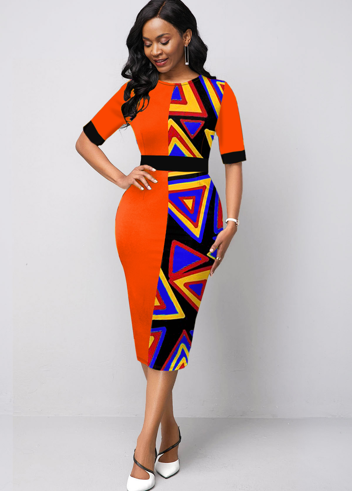Color Block Half Sleeve Geometric Print Dress