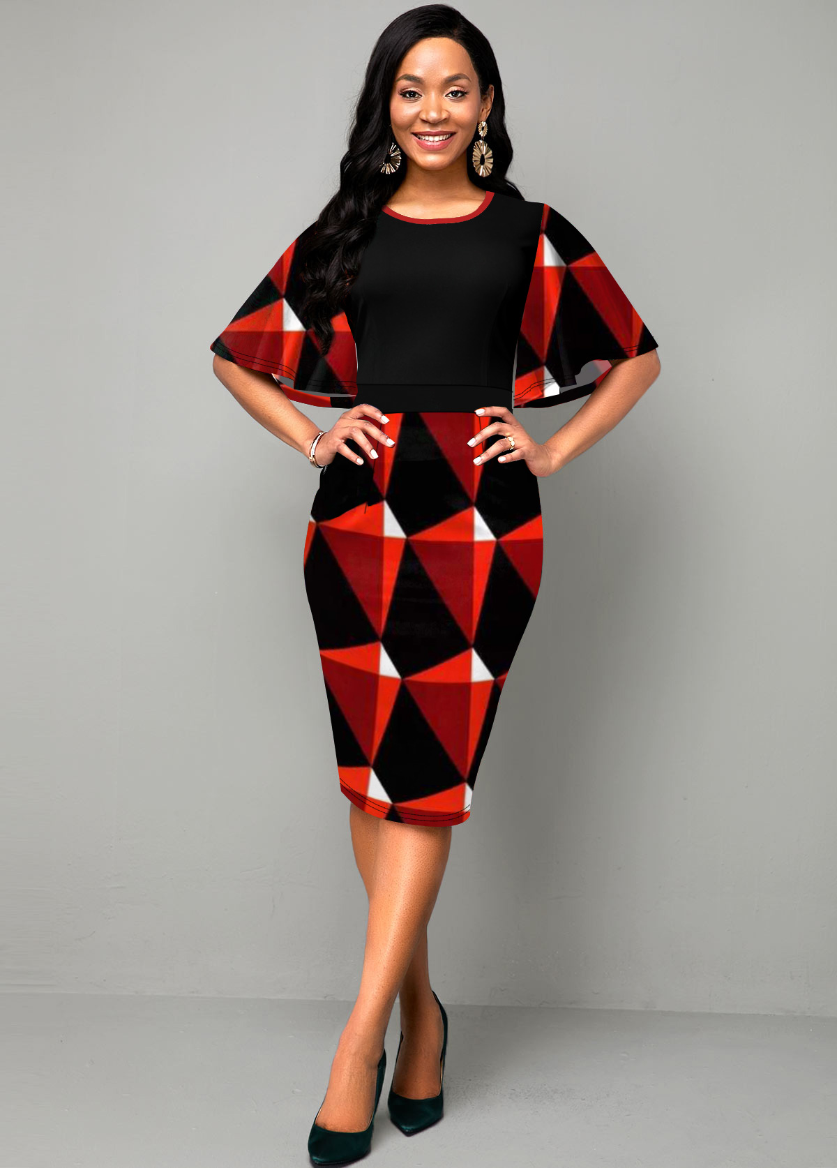 ROTITA Ruffle Overlay Geometric Print Round Neck Dress