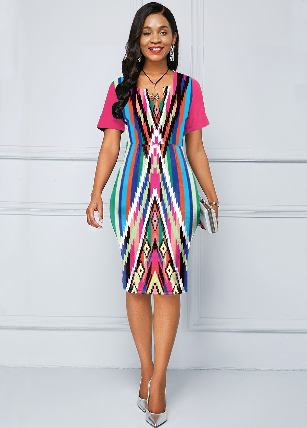 Short Sleeve Multi Color Geometric Print Dress
