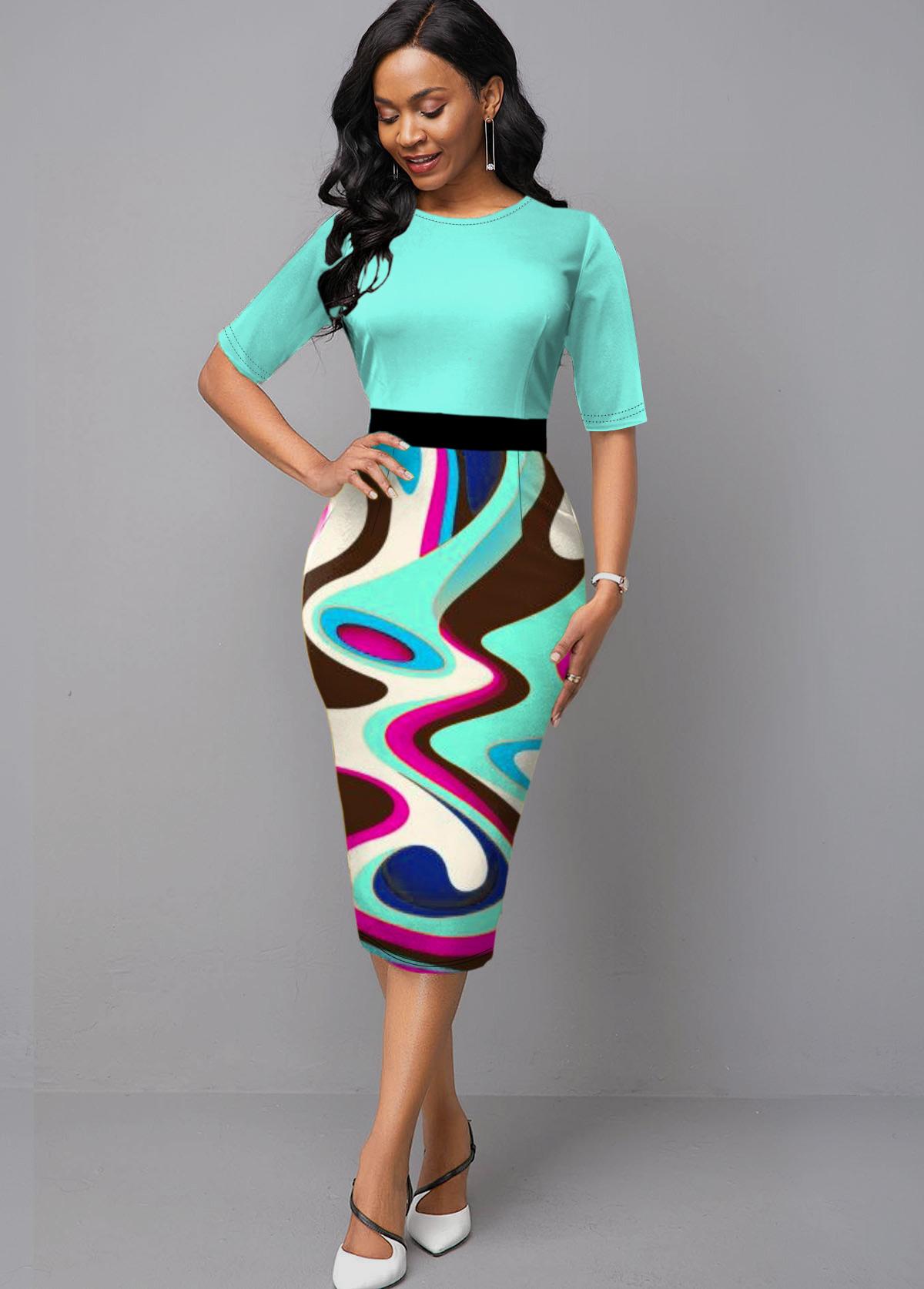 Geometric Print Cyan Half Sleeve Dress