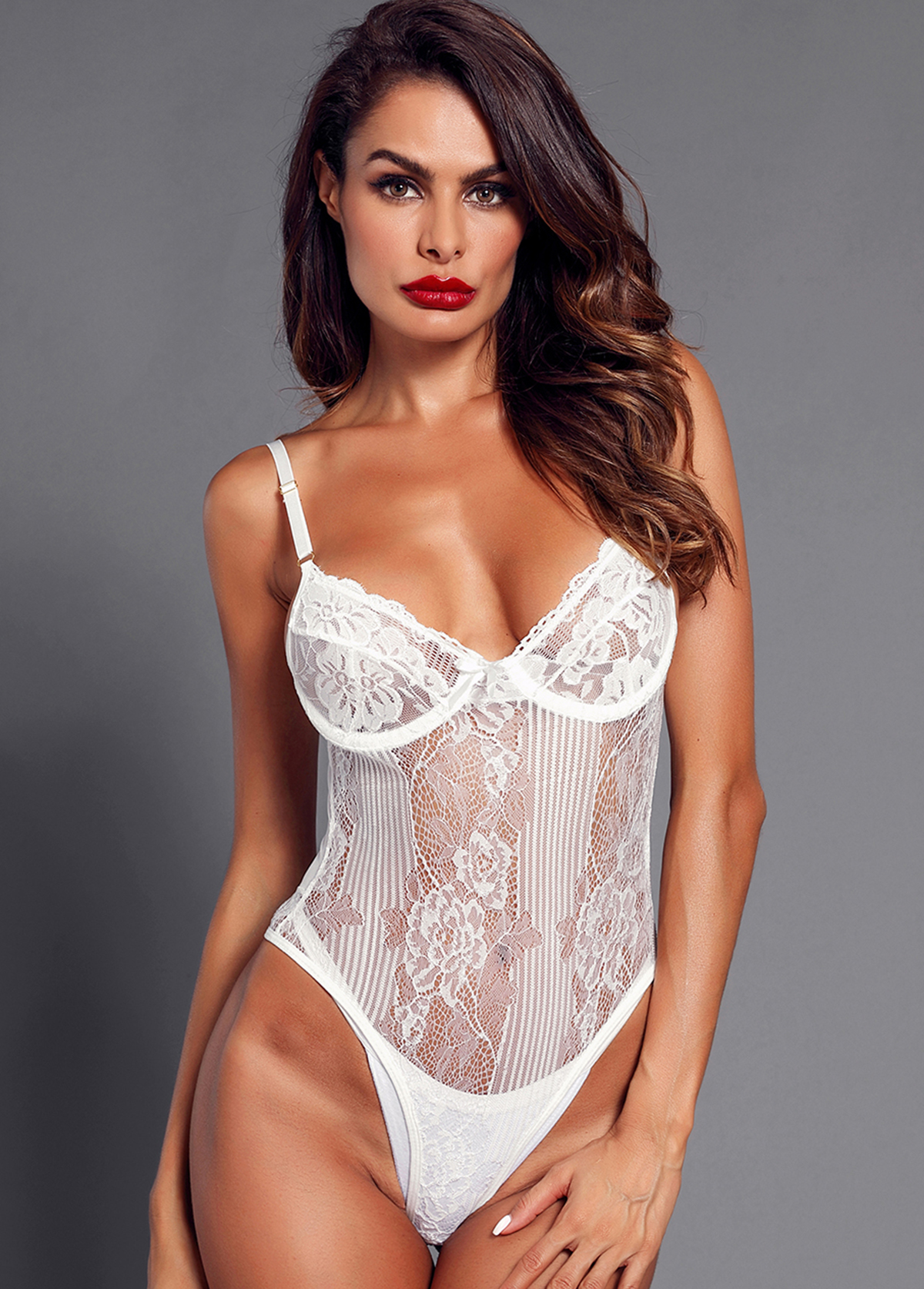 Lace Panel Spaghetti Strap White Bodysuit