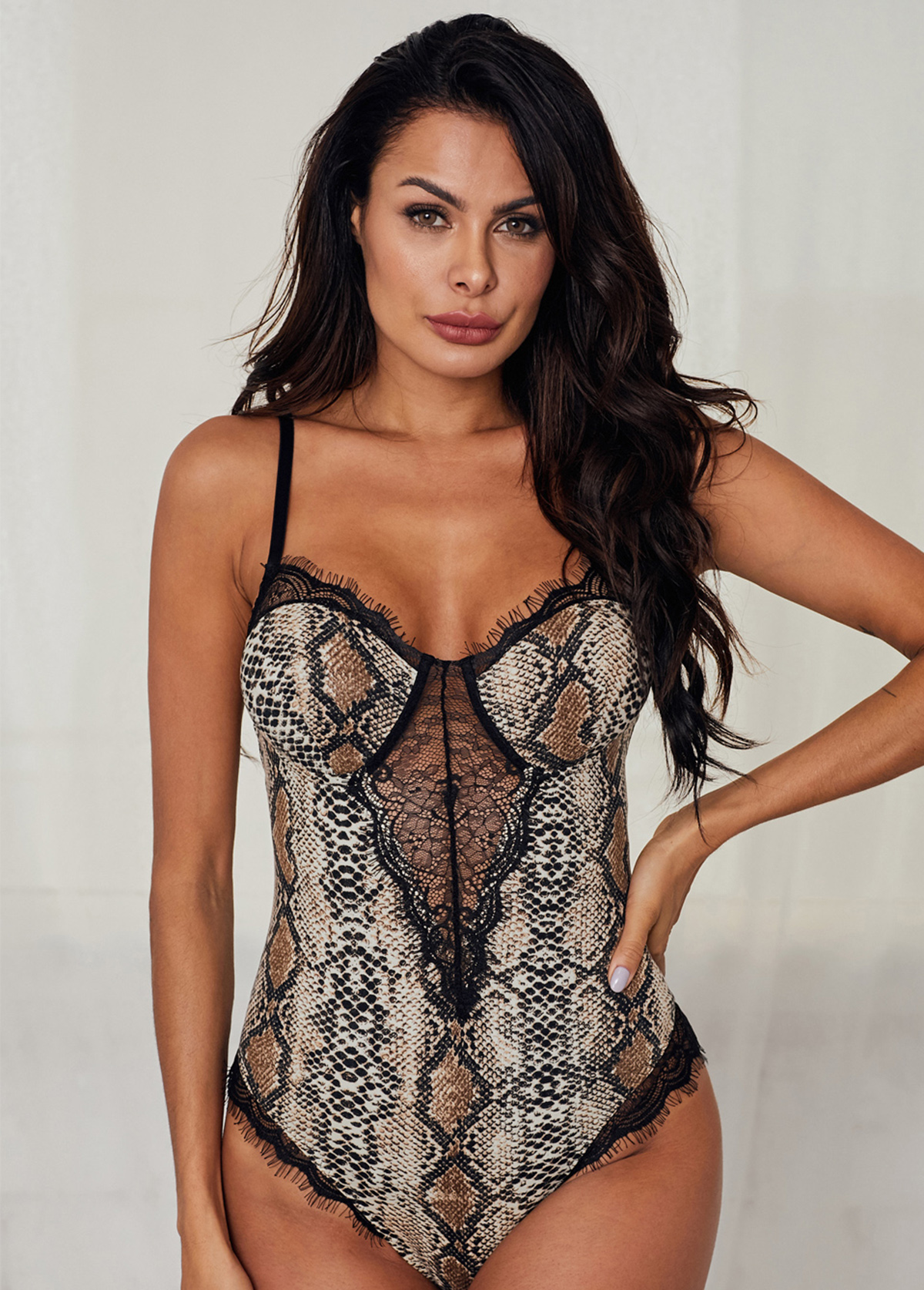 Lace Panel Hollow Back Spaghetti Strap Bodysuit