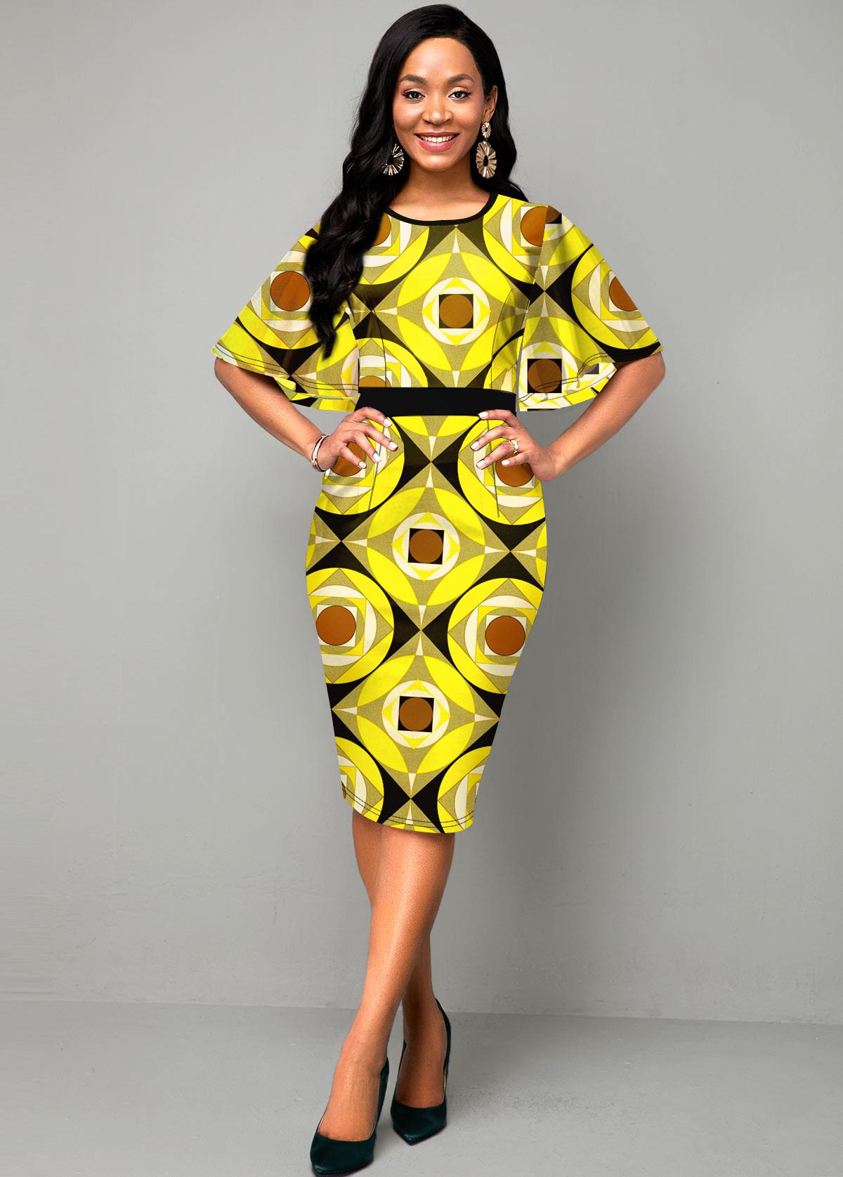 ROTITA Cape Sleeve Geometric Print Yellow Dress