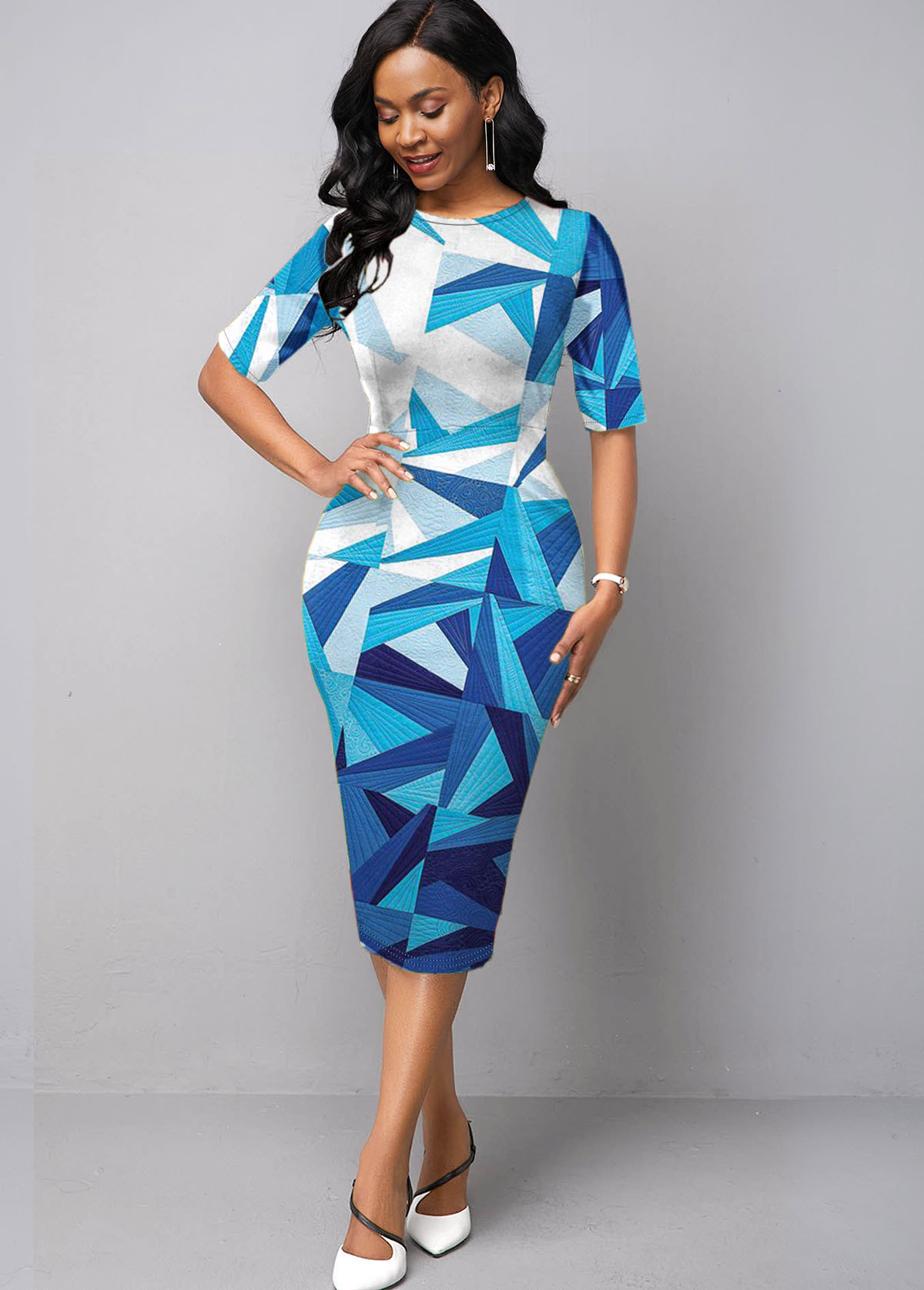ROTITA Half Sleeve Geometric Print Blue Dress