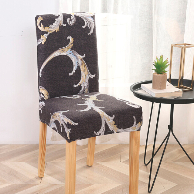 Printed Black One Size Stretchy Chair Cover