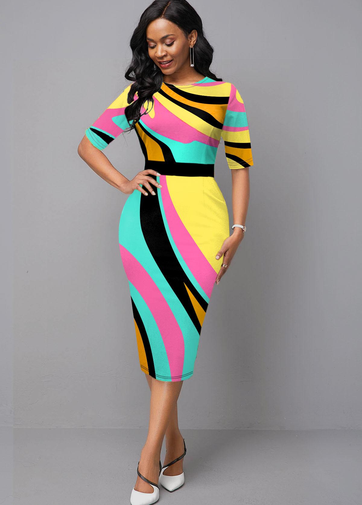 Half Sleeve Geometric Print Round Neck Dress