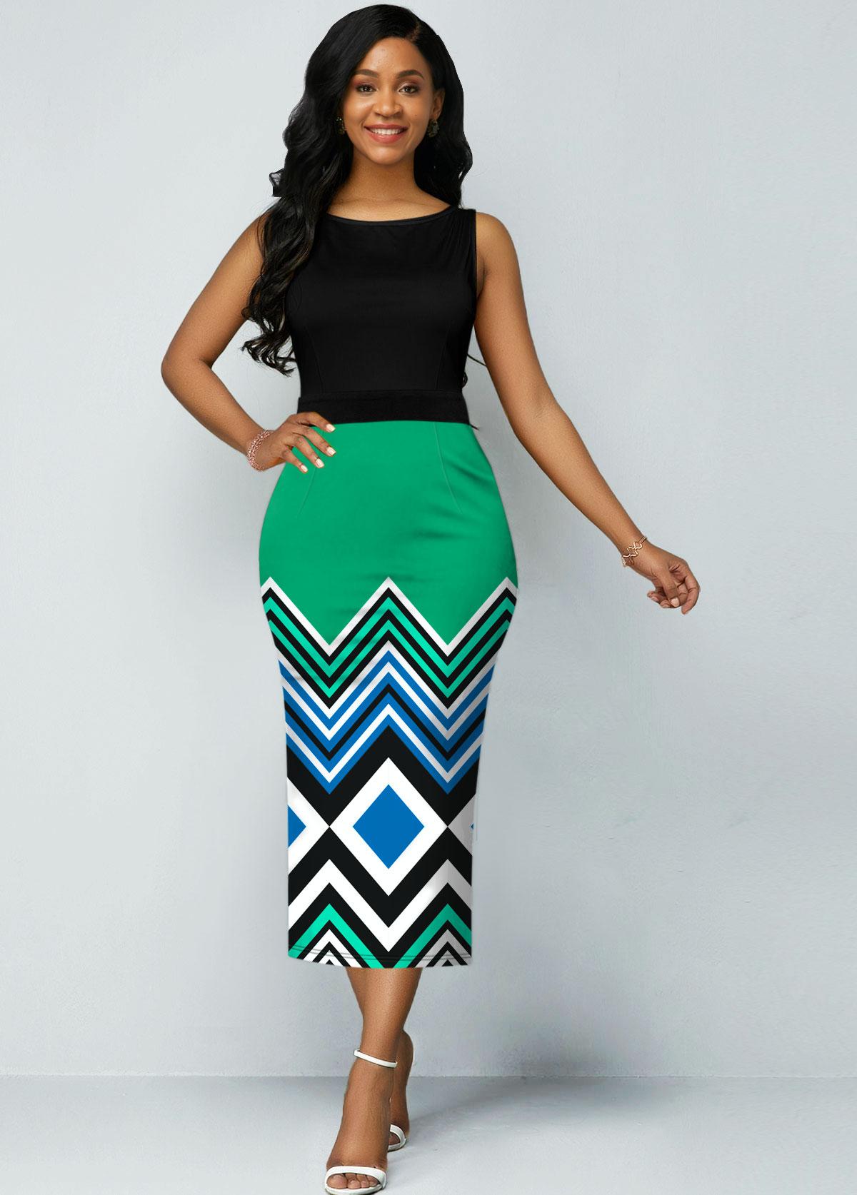Stripe Print Round Neck Sleeveless Dress