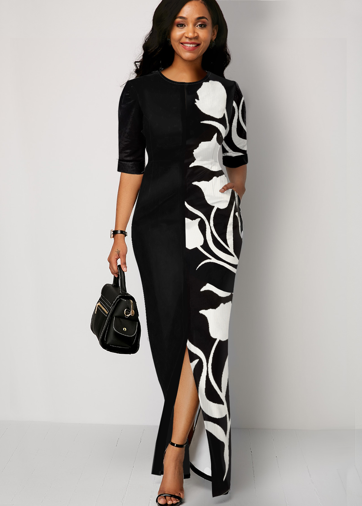 ROTITA Black Flower Print Half Sleeve Dress