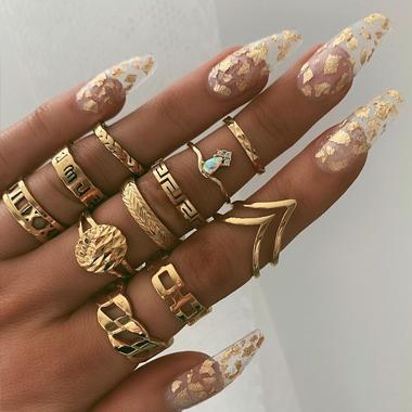 Gold Metal Material 11pcs Rings for Women