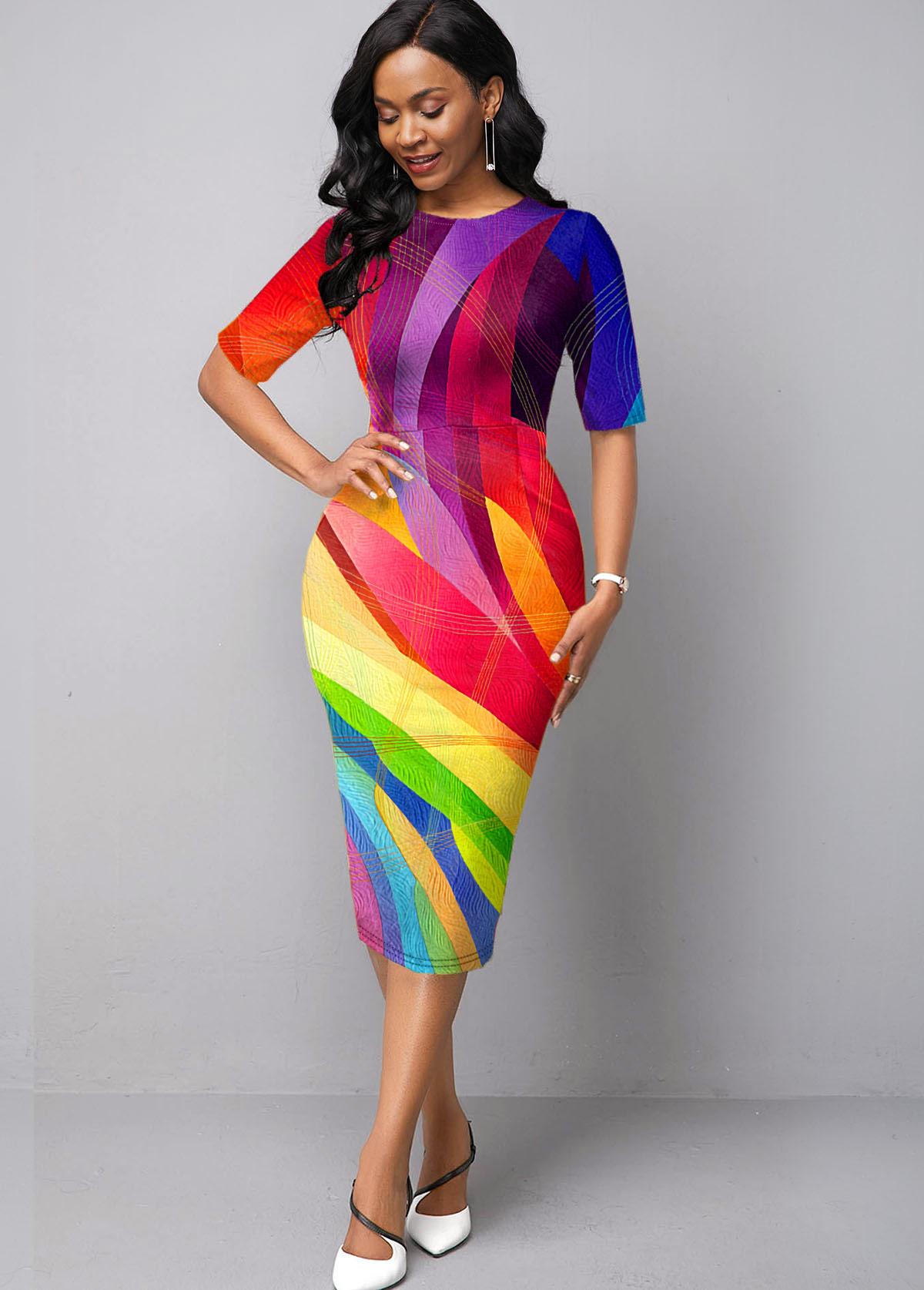 Printed Geometric Print Rainbow Color Dress