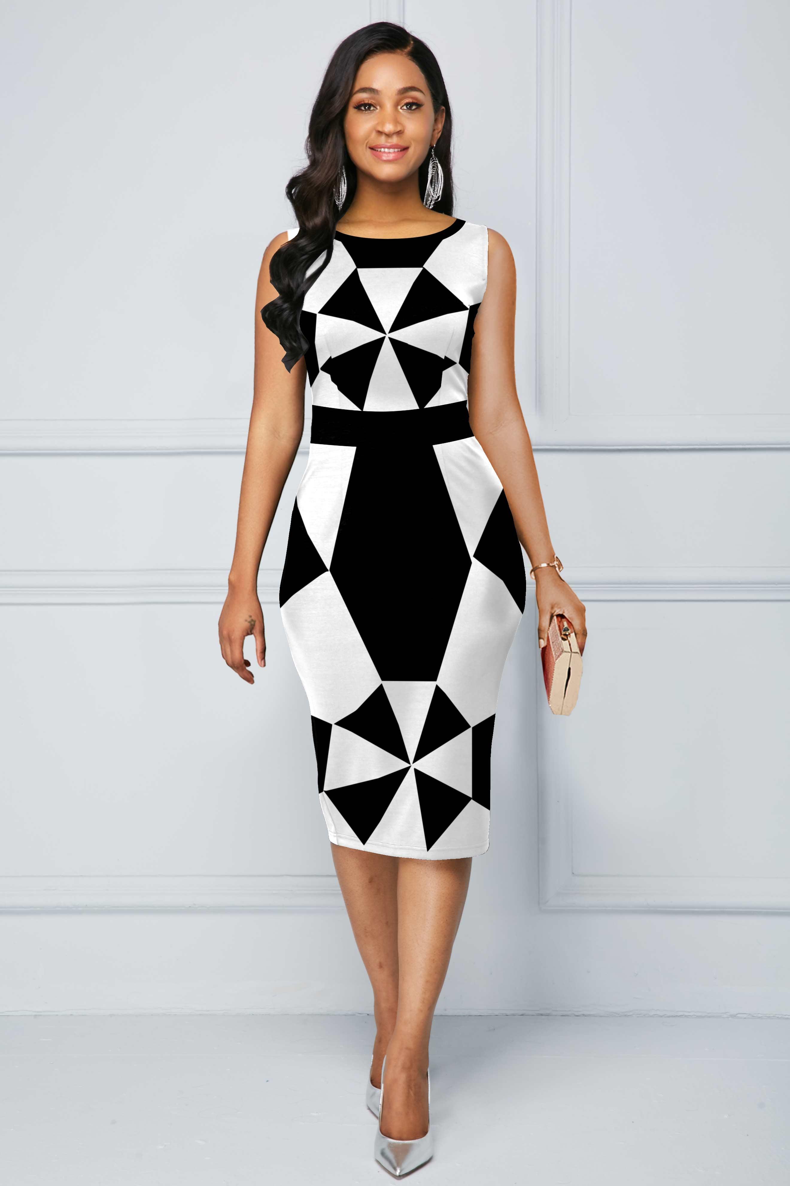Geometric Print Sleeveless Color Block Dress
