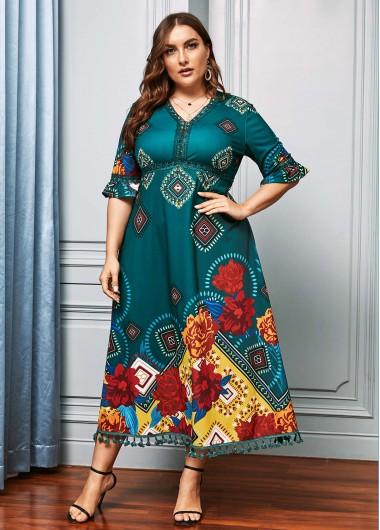Rotita Half Sleeve Floral Print Plus Size Dress