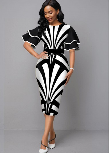 Color Block Flare Sleeve Round Neck Dress