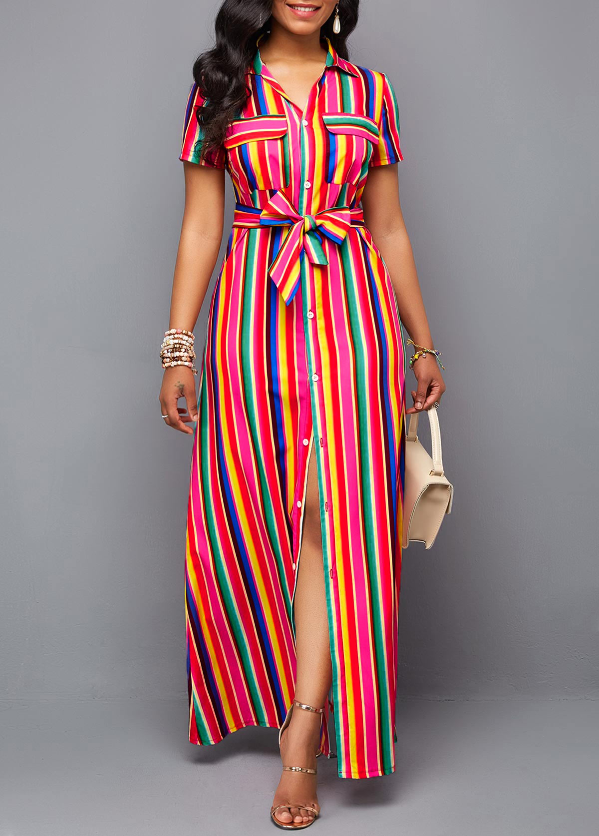 ROTITA Button Up Turndown Collar Belted Rainbow Color Dress