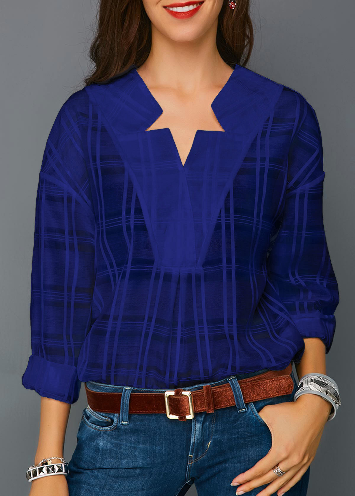 Curved Hem Long Sleeve Royal Blue Blouse